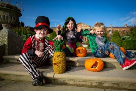Children in fancy dress on the South Terrace of Hillsborough Castle for Halloween 2019