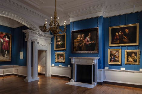 Portraits and other works of art on display at the Cumberland Art Gallery at Hampton Court Palace.