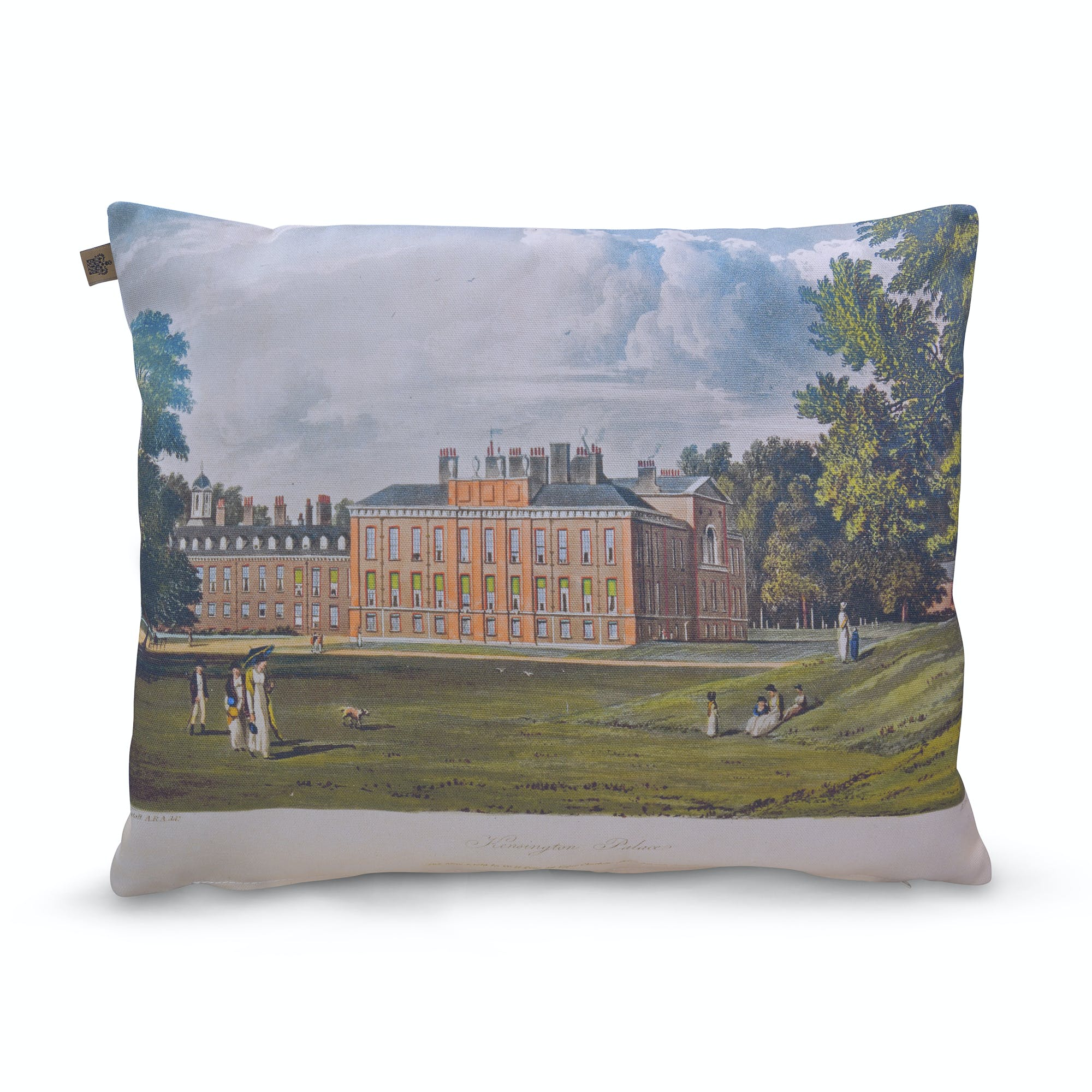 This beautiful cushion features a vintage print of Kensington Palace, the royal residence of William and Mary.