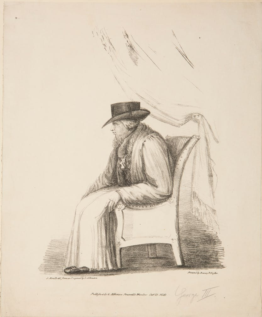 Black and white sketch showing King George III during his last period of illness.