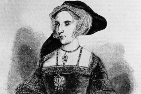 Black and white illustration of Jane Seymour.