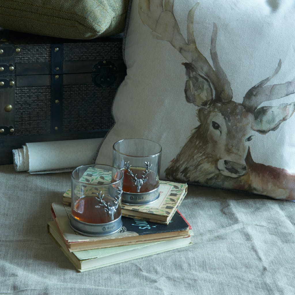 Historic Royal Palaces retail product - drinking glasses, books and deer cushion