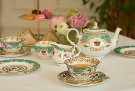 Selection from Palace China collection.    The Palace china collection is an exclusive range that uses delicate details from the palaces including the gardens at Hampton Court Palace, the golden gates at Kensington Palace, the Crown Jewels at the Tower of London and the gold border detail on the Rubens ceiling at Banqueting House.  Lifestyle