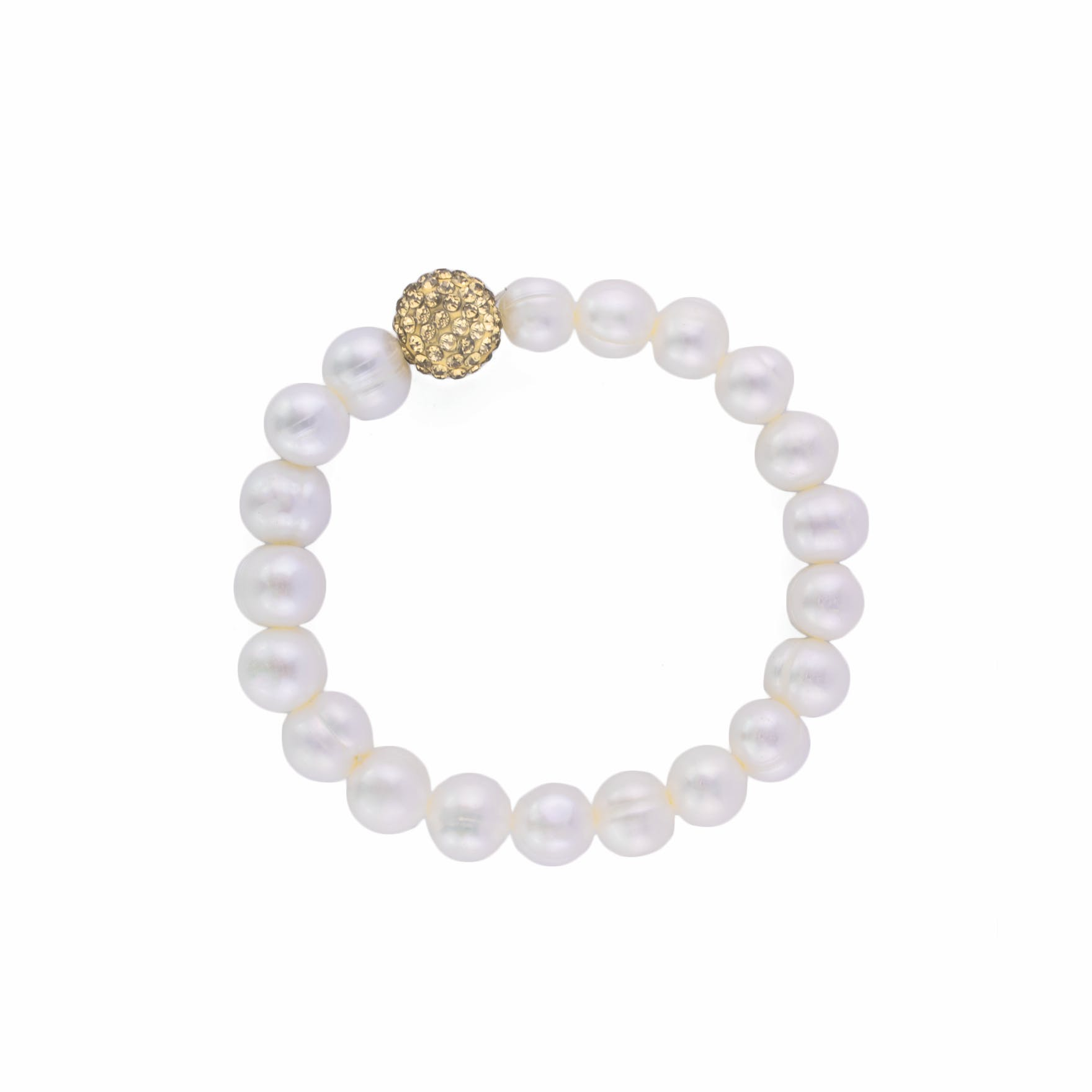 This exquisite real pearl bracelet features a Swarovski gold crystal ball attached.The elegant and subtle real pearl bracelet comes in a presentation gift box