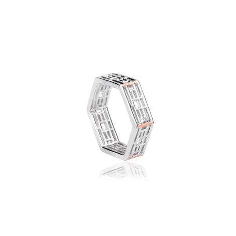 Image is of a Clogau designed silver stacking ring inspired by The Great Pagoda at Kew.