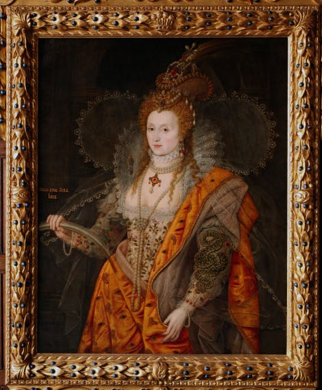 Rainbow Portrait of Elizabeth I, in a gold frame.