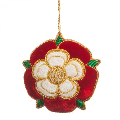Tudor Rose tree decoration -  the national flower of England is the rose which was adopted as England's emblem during the time of the Wars of the Roses