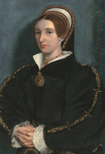 Portrait of a Lady, thought to be Catherine Howard (oil on panel), Holbein the Younger, Hans (1497/8-1543) (follower of) / Hever Castle Ltd, Kent, UK / Bridgeman Images