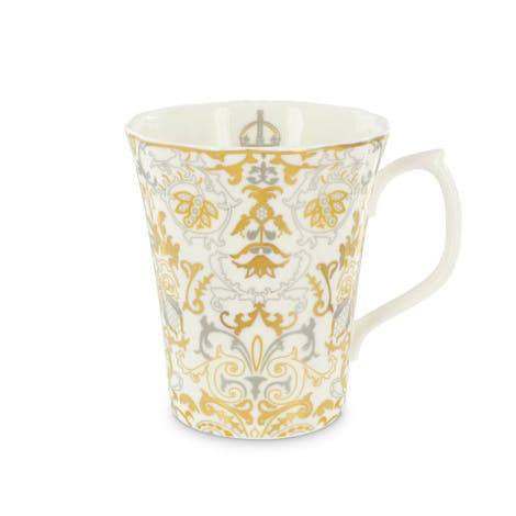 Picture of our Royal Victoria bone china tall mug - gold, silver and white