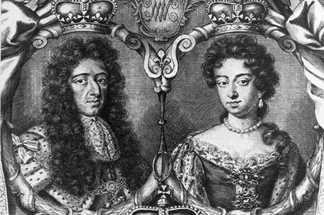 An engraving of King William III and Queen Mary II. The King wears robes of state, the Queen a jewelled gown with pearls.