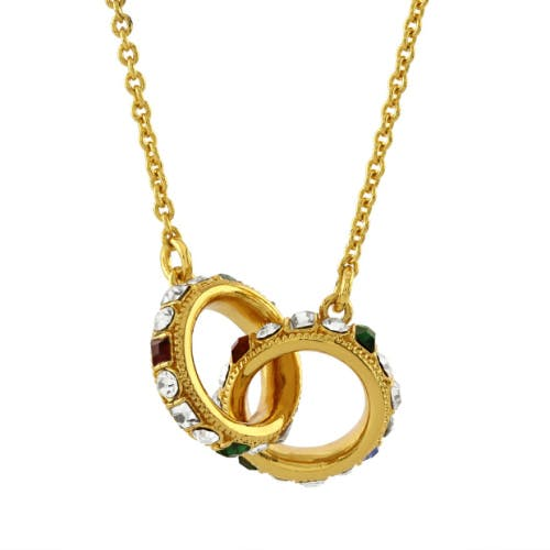 This 18ct gold plated double ring necklace is inspired by the Crown Jewels collection. The necklace features two rings witch are interconnected and decorated with stones/crystals.