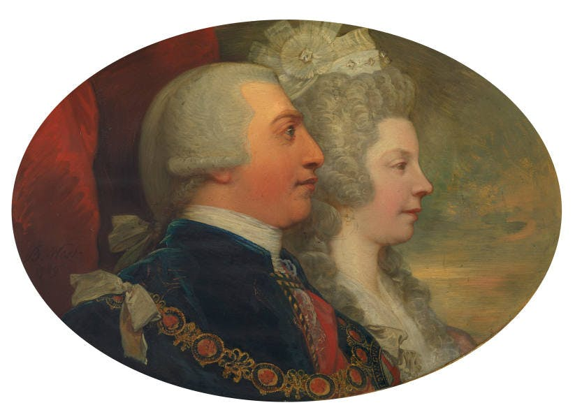 A painting of George III and Queen Charlotte