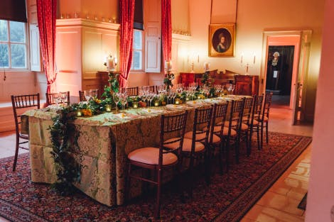 A dinner table is set up in a hire space at Kew Palace