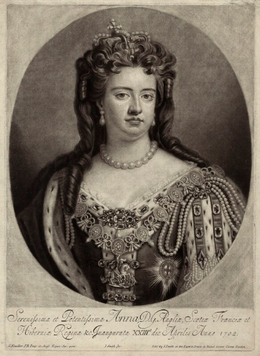 A mezzotint of Queen Anne published by John Smith, after Sir Godfrey Kneller