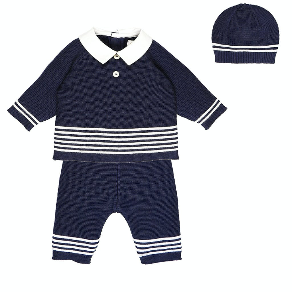 Navy two piece knitted sailor outfit with hat made from 100% cotton