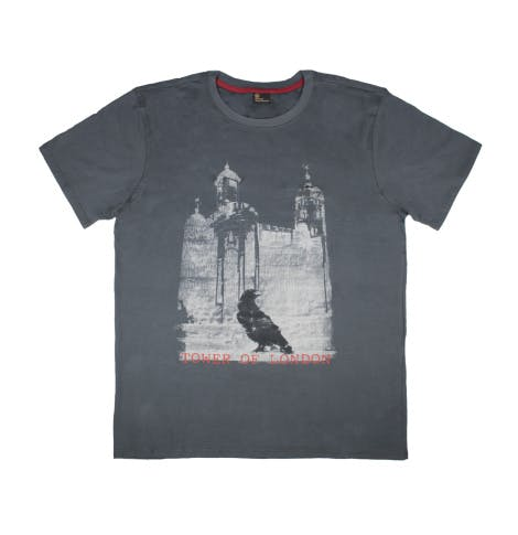 Tower of London raven black t-shirt on white background