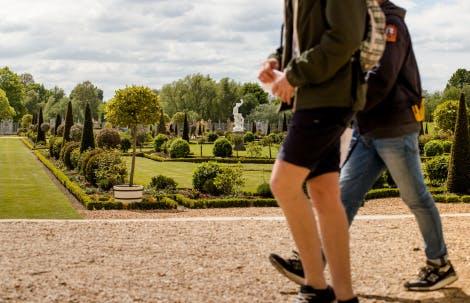 Visitors walking in the Privy Garden