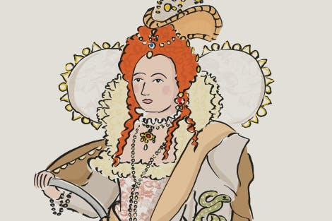 Elizabeth I illustration in her 'Rainbow Portrait' dress