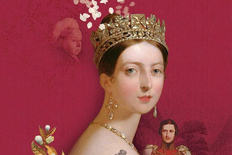 Portrait of a young Queen Victoria on a red background, compiled with a portrait of Prince Albert and a photograph of an older Queen Victoria