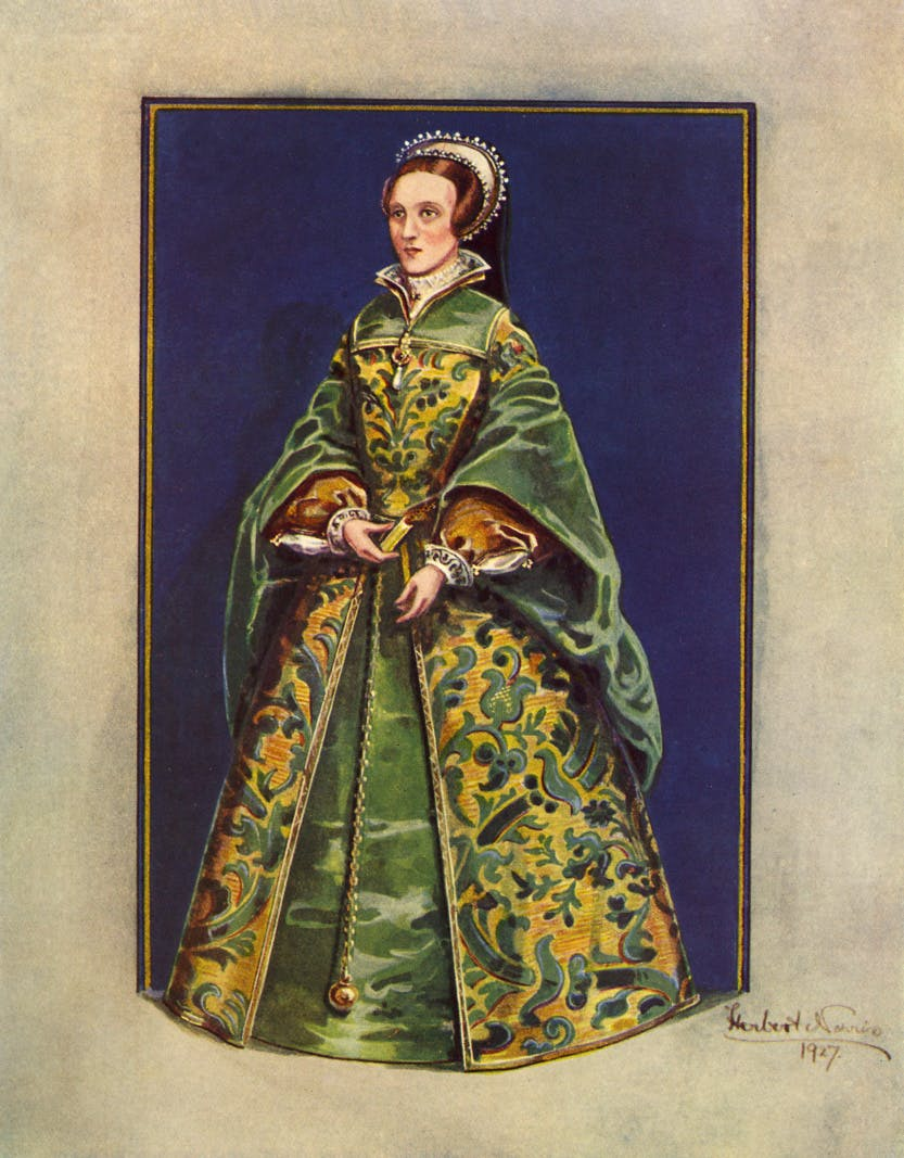A painting of Lady Jane Grey in a green and yellow gown.