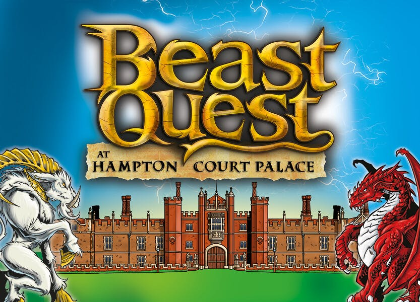 Illustration of the entrance to Hampton Court Palace, two beasts on either side and 'Beast Quest' logo in the centre.