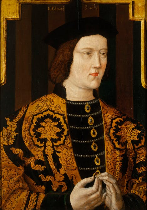Edward IV's portrait with a view of his head and shoulders, wearing a black cap and a rich gown. He holds a ring in his hand.