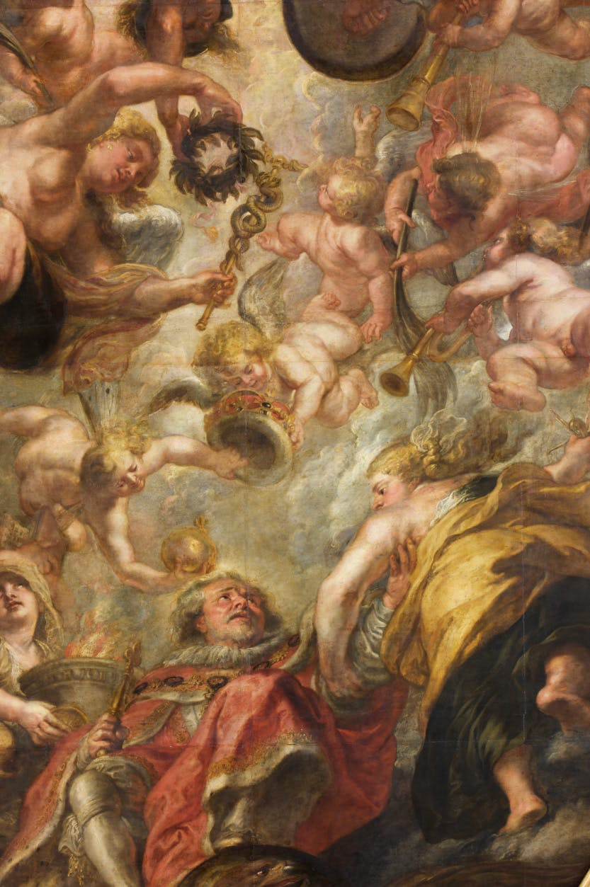 The Apotheosis of James I -The Banqueting House ceiling by Peter Paul Rubens.