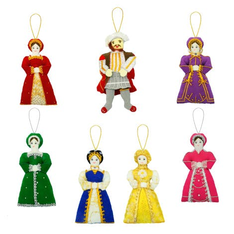 Henry VIII and his six wives feature in this splendid tree decoration set. A wonderful addition to a Tudor Christmas.