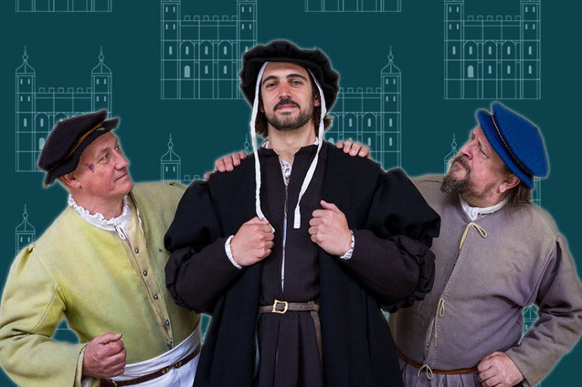 Three costumed interpreters dressed as Master Cook, Kitchen Clerk and Sergeant of the Cellar from the Tudor Kitchens.