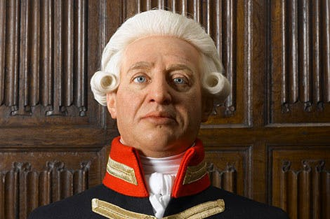 Full colour bust of George III on display at Kew Palace
