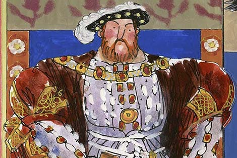 Henry VIII illustration showing him his all his finest robes, jewels and feathered cap.