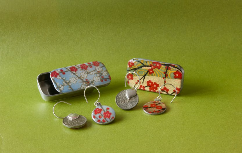 Sky blue floral sixpence drop earrings in tiny tin and red blossom sixpence drop earrings in tiny tin.