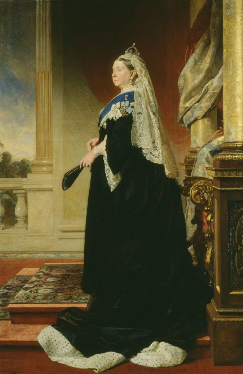 Painting where Queen Victoria is shown in full-length, standing, in profile to the left, her head turned three-quarters to the left, on a dais with a throne chair behind. In the background is a balustrade with a glimpse of trees beyond. The train of her black satin dress is lined with ermine and her long veil is held in position by a small diamond crown. The Queen wears the ribbon and star of the Garter with the badges of the Order of Victoria and Albert and the Crown of India.