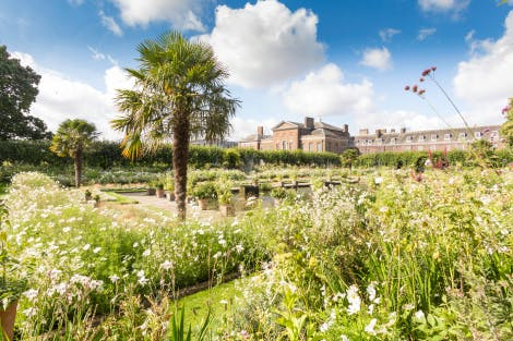 The images show the summer planting of the temporary White Garden, with Kensington Palace in the background.