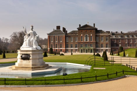 The East Front after Kensington Palace renovations. Looking west towards the statue of Queen Victoria (installed 1893), 22 March 2012.  Part of the Kensington Palace project, 'Welcome to Kensington - a palace for everyone' an undertaking over two years (2010-12) of major refurbishments (renovation) at Kensington, including new gardens.