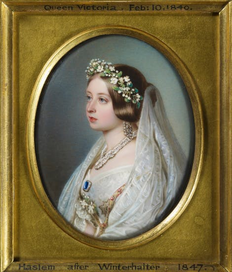 Minature portrait with frame showing Queen Victoria wearing her wedding wreath, veil, sapphire brooch, small collar of the garter and the Turkish diamond earrings and necklace.