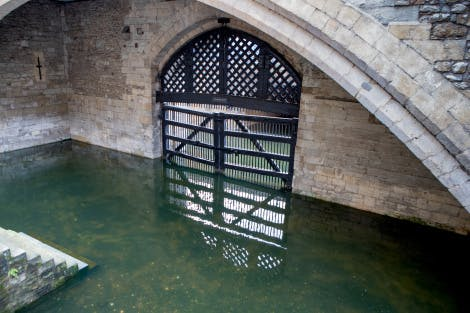 View of Traitors' Gate taken from within the Tower of London.