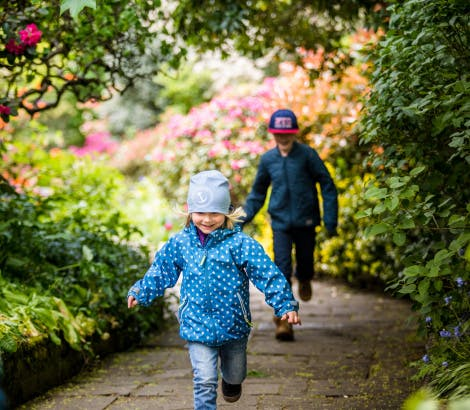 Children running along a path in the Wilderness, flanked by trees and colourful shrubs.