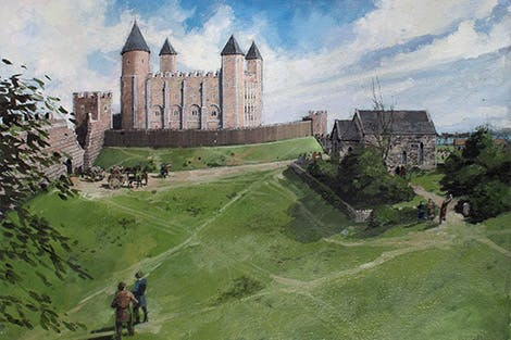 An illustration of the White Tower in its early days on a hill without surrounding outer walls.