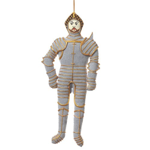 Henry VIII knight in shining armour hanging decoration. Handmade using traditional techniques this luxury hanging decoration features Henry VIII in his arms and armour