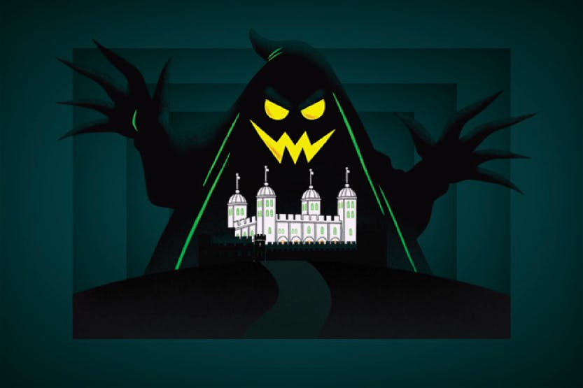 An illustration featuring a hooded figure looming over the Tower of London, with a dark green background