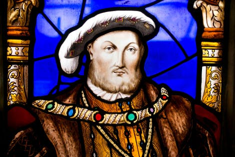 Detail of Henry VIII stained glass from the west window in The Great Hall