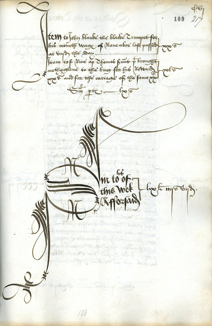 Extract from an Exchequer roll of 1507 shows the first payment to John Blanke, the Black trumpeter at the Tudor court