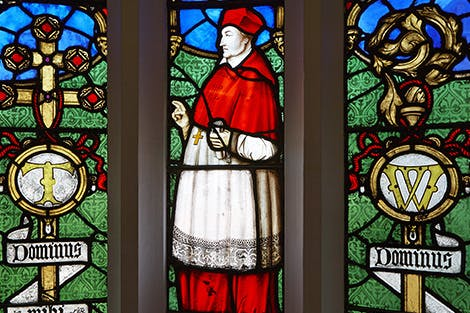 Detail of a stained-glass window showing the figure of Cardinal Wolsey