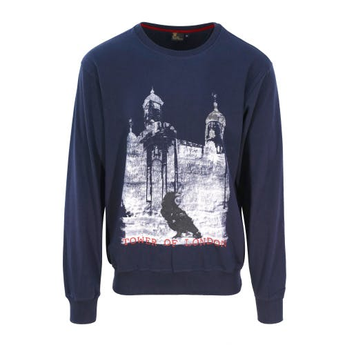 Tower of London navy sweatshirt featuring White Tower image together with a raven in foreground on the front .