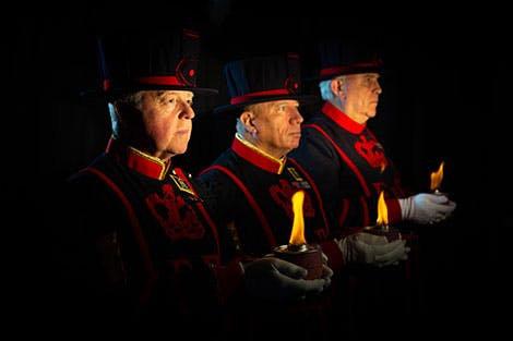 Yeoman Warders on a black background