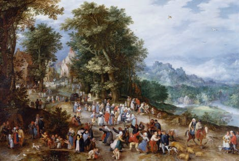 A painting by Jan Brueghel the Elder, 1600 that hangs in Cumberland Art Gallery, Hampton Court Palace. A festival with dancing peasants and other figures on a country road.