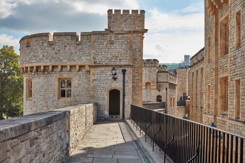 The entrance to the upper storey of the Bowyer Tower after conservation in 2016, looking east along the North Battlements. The Brick Tower can be seen in the background, and the Waterloo Barracks on the right.