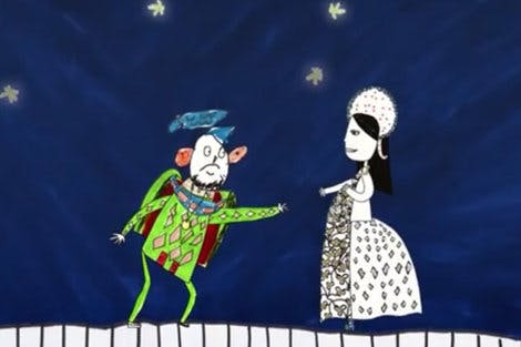 Still of Anne Boleyn and Henry VIII from animated video, 'The Coronation Procession of Anne Boleyn'