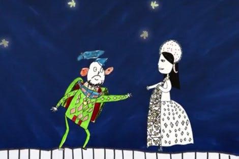 Still of Anne Boleyn and Henry VIII from animated video, 'The Coronation Procession of Anne Boleyn'